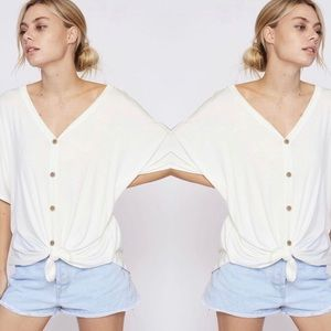 VAL Softest Button Down Top - OFF WHITE